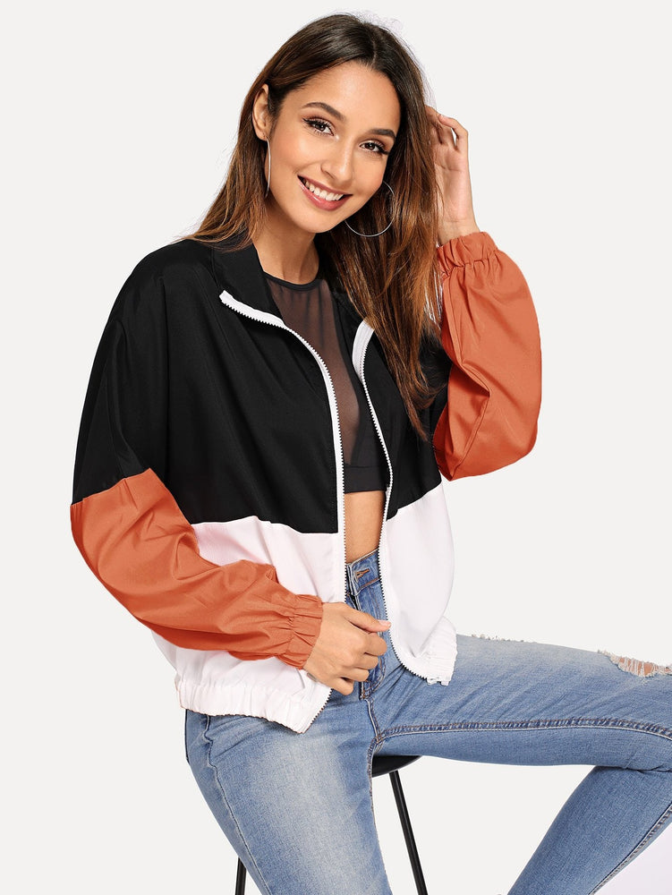 Elastic Hem Color Block Windbreaker Jacket