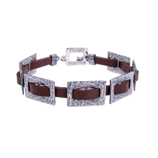 Hammered Silver Chain and Brown Leather Men Bracelet - Alluforu