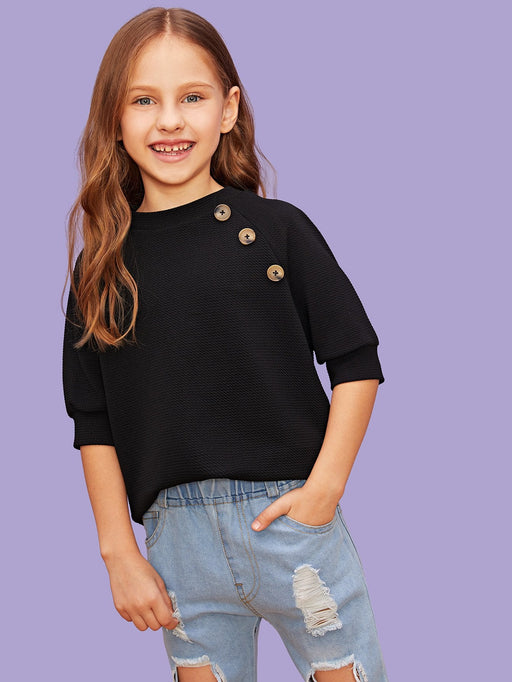 Girls Button Detail Solid Top - Alluforu