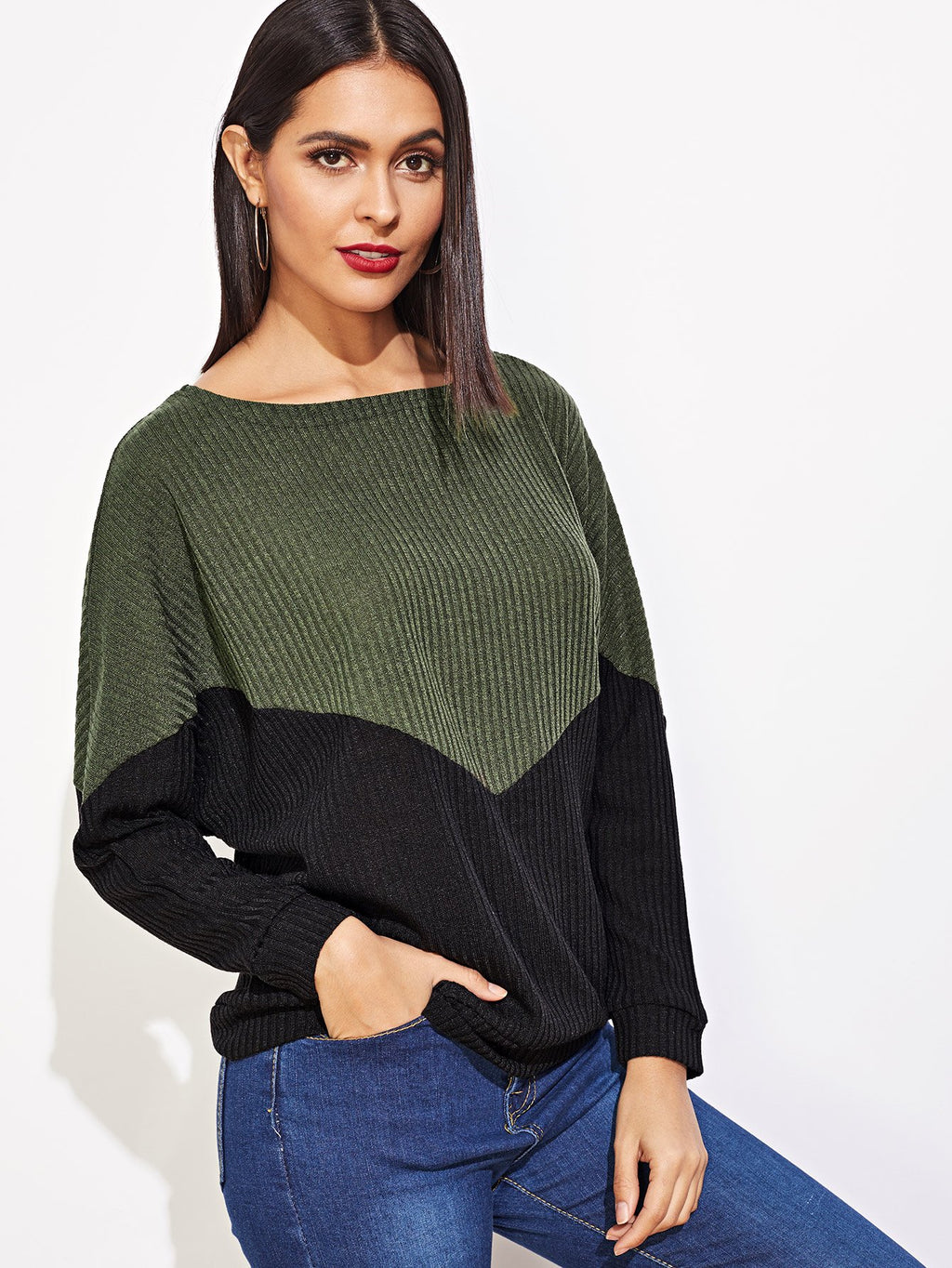 Contrast Sequin Ribbed Tee