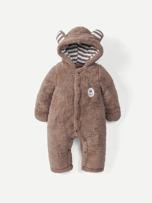 Baby Patched Detail Hooded Jumpsuit