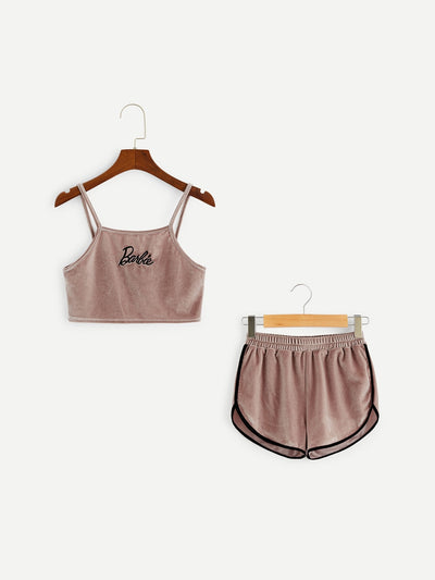 Girls Embroidered Crop Velvet Cami Top & Shorts PJ Set