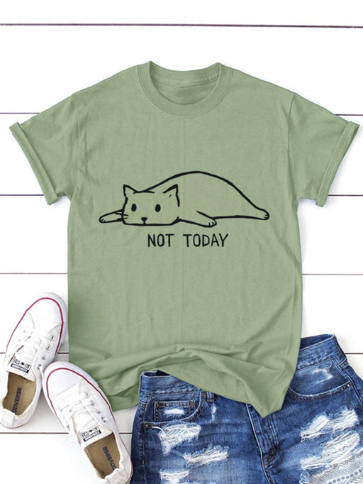 Cat And Letter Print Tee - Alluforu