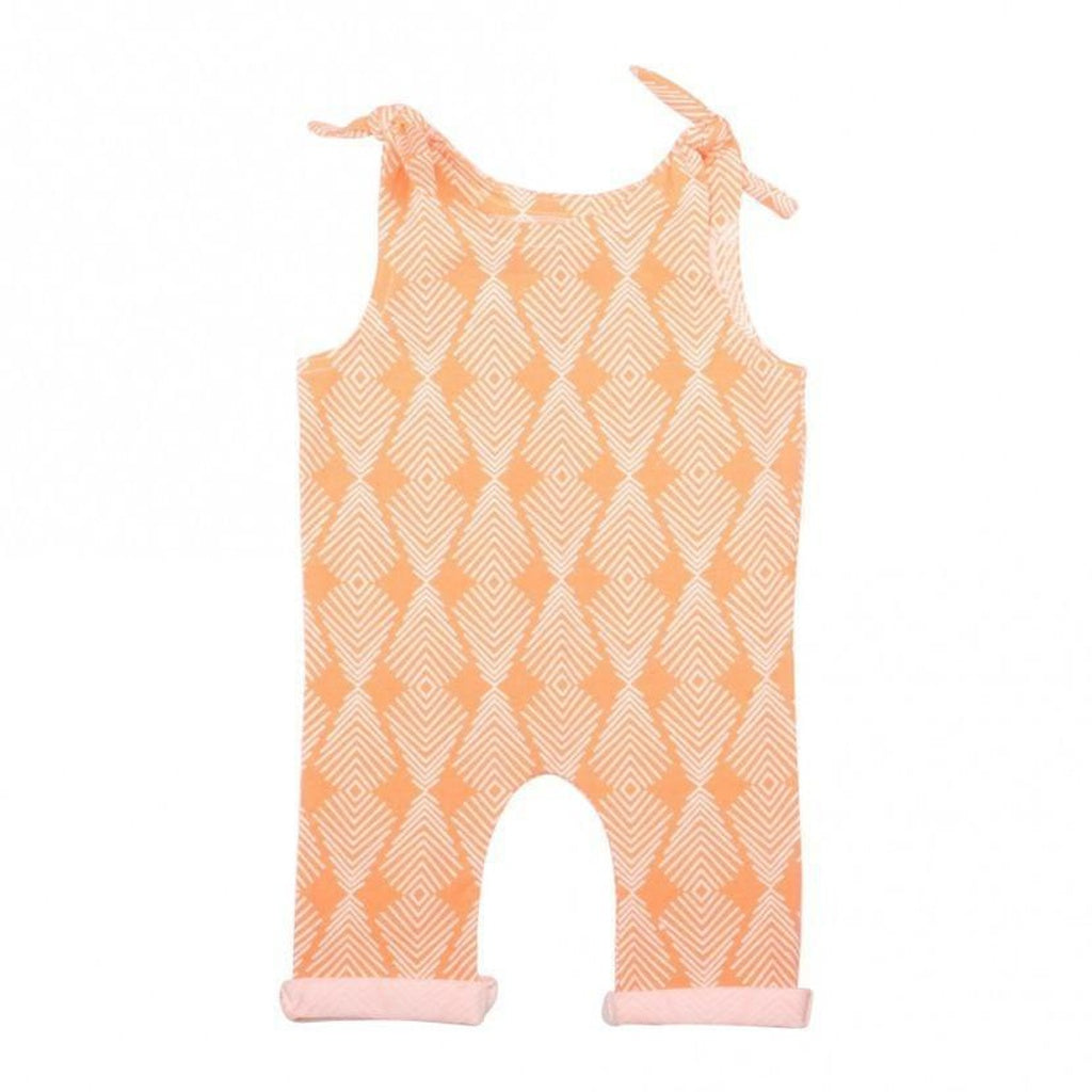 Apricot Tie Girls Romper for Babies and Toddlers - Alluforu