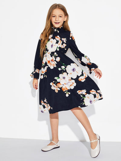 Girls Smocked Neck Flounce Sleeve Floral Print Dress