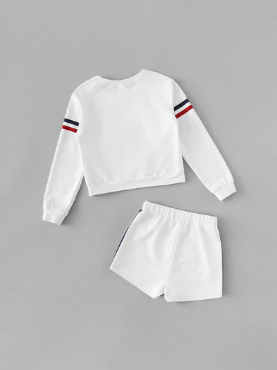 Girls Striped Side Top & Shorts Set