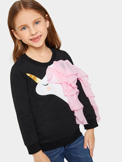 Toddler Girls Contrast Mesh Ruffle Trim Unicorn Print Sweatshirt