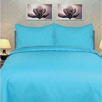 Solid Turquoise Teal Blue Thin & Lightweight Reversible Quilted Coverlet Bedspread Set (LH3000) - Alluforu