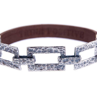 Silver Chain Detail and Brown Leather Men Bracelet
