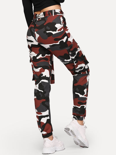 Camo Print Pocket Belted Pants