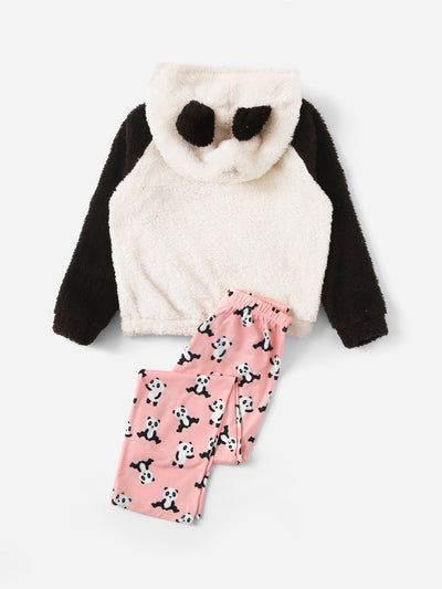 Girls Panda Teddy Hoodie & Allover Print Pants PJ Set
