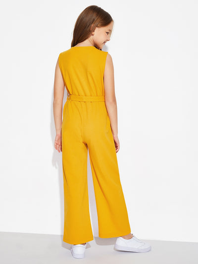 Girls Zip Front Sleeveless Belted Jumpsuit