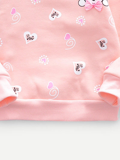 Toddler Girls Bear & Heart Print Bow Detail Sweatshirt