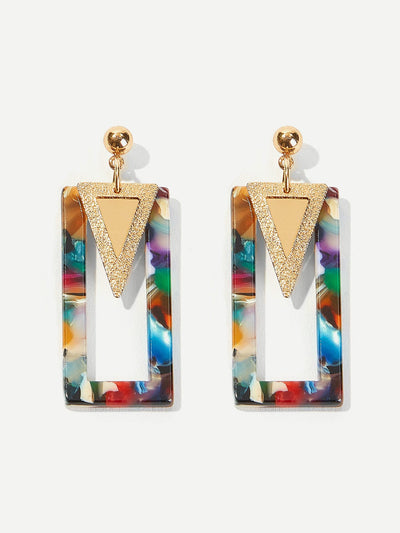 Triangle Detail Marble Pattern Drop Earrings 1pair