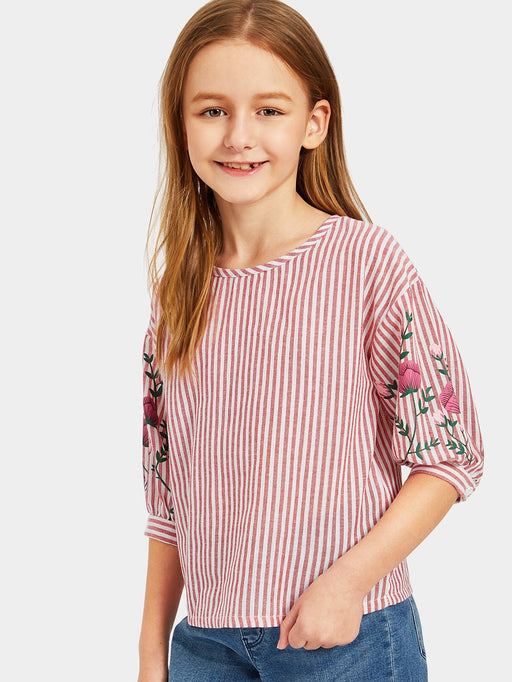 Girls Flower Print Striped Top - Alluforu