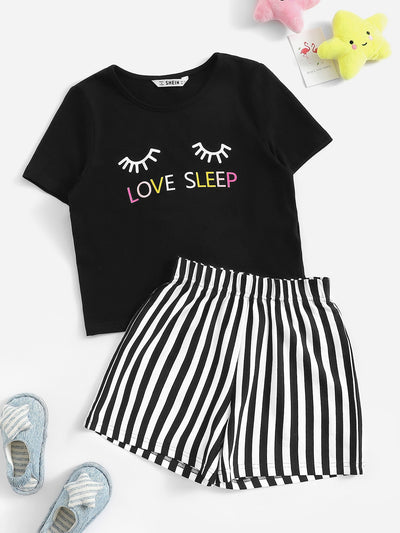 Girls Letter & Winky Eye Print Tee and Striped Shorts PJ Set