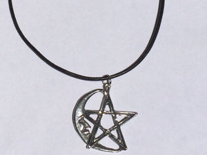 Pentagram Moon Vegan Leather Choker