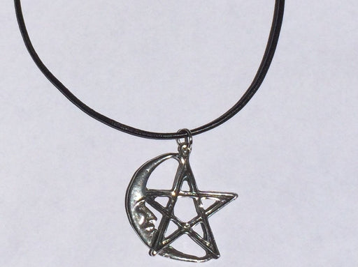 Pentagram Moon Vegan Leather Choker - Alluforu