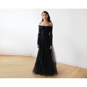 Black Off-The-Shoulder Lace and Tulle Maxi Dress 1134 - Alluforu