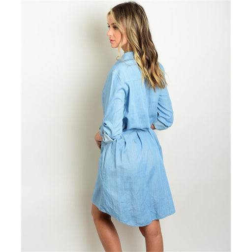 Women's long sleeve Denim Tunic Button Down shirt Dress - Alluforu