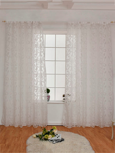 Floral Design Eyelet Sheer Curtain 1pc