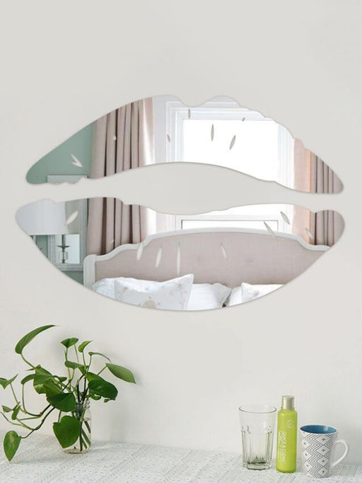 Lip Shape Mirror Wall Sticker 2pcs