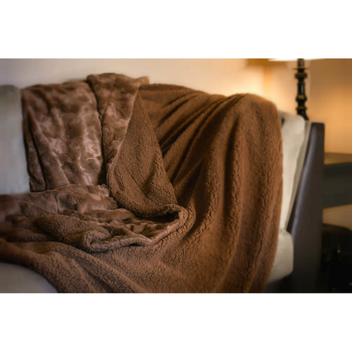 Luxury Solid Cinnamon Mocha Brown Wooded River Faux Fur with Sherpa Backside Soft Warm Fleece Throw Blanket - Alluforu