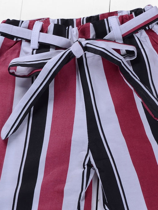 Toddler Girls Plain Blouse With Striped Pants