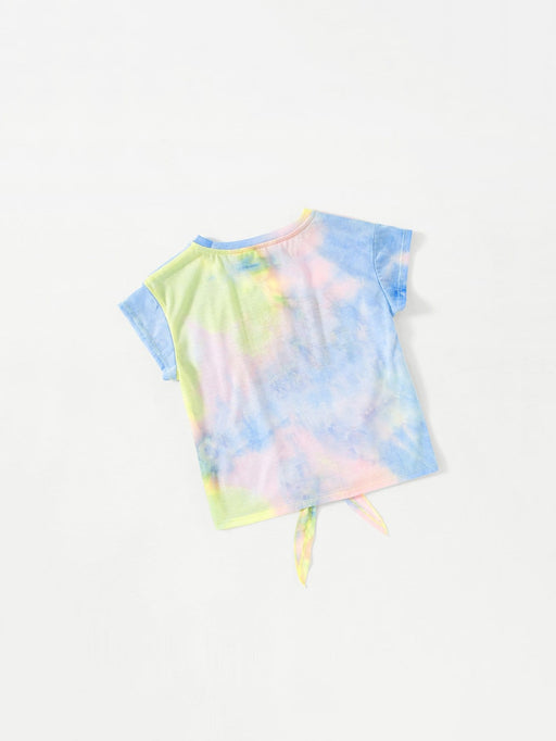 Girls Tie Dye Letter Print Knot Top
