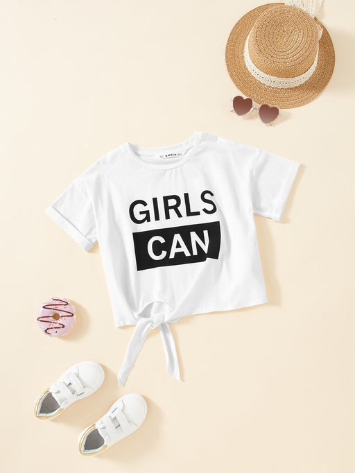 Girls Cuffed Sleeve Knot Front Graphic Tee - Alluforu