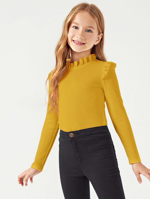 Girls Rib-knit Frilled Trim Tee - Alluforu