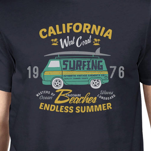 California Beaches Endless Summer Mens Navy Shirt - Alluforu