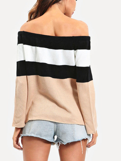 Off The Shoulder Colorblock Jumper