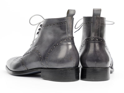 Paul Parkman Wingtip Ankle Boots Gray Hand-Painted (ID#777-GRAY) - Alluforu