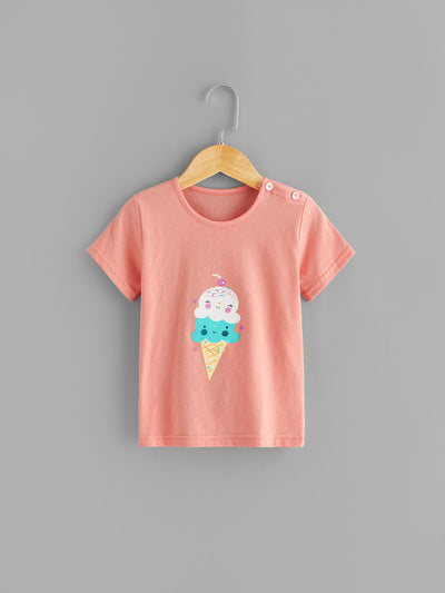 Toddler Girls Ice Cream Print Plaid PJ Set
