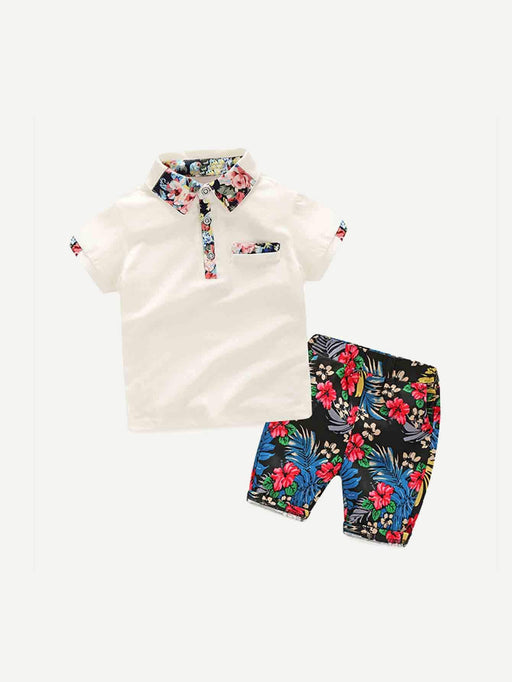 Boys Floral Print Polo Shirt With Shorts