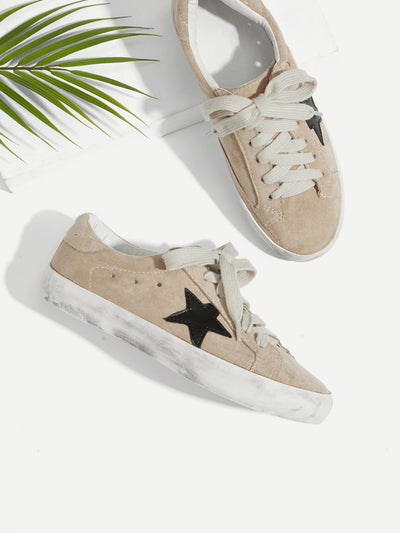 Star Patch Lace Up Splice Sneakers - Alluforu