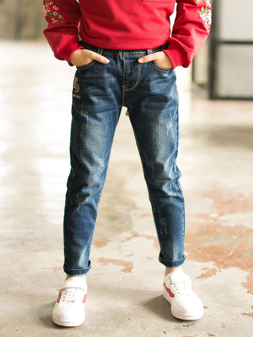 Boys Letter Embroidered Jeans - Alluforu
