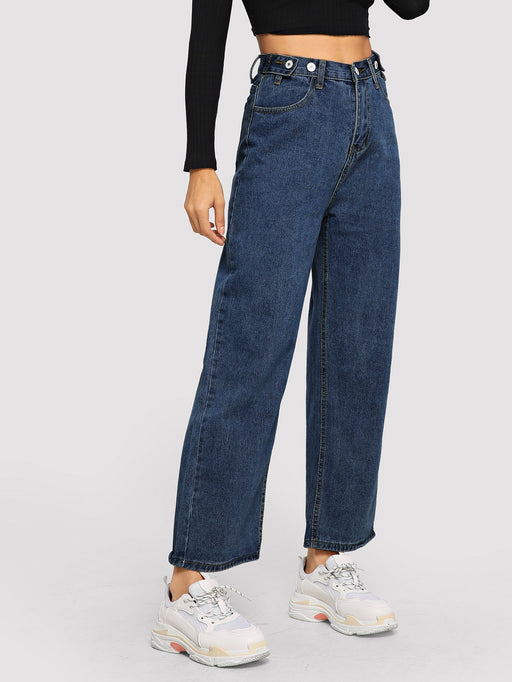 Button Decoration Wide Leg Jeans