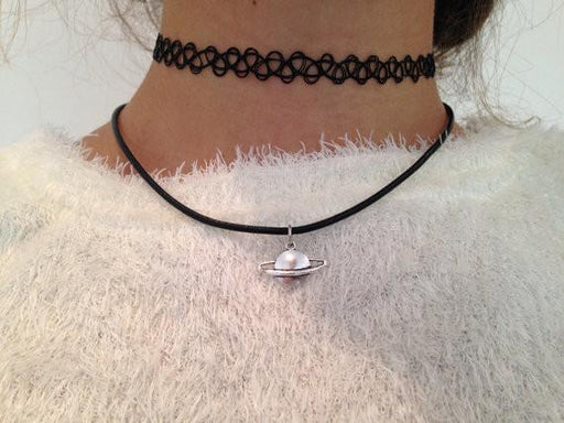 Saturn Vegan Leather Choker - Alluforu