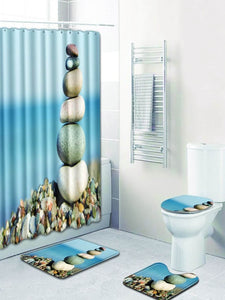 Pebble 12hooks Shower Curtain & 3pcs Rug
