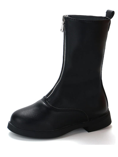 Toddler Kids Zipper Plain Boots