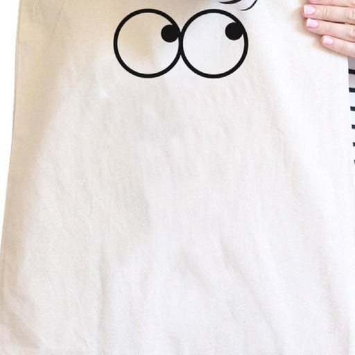 Eye Emoji Natural Canvas Bag Funny Graphic Printed Student Bags - Alluforu