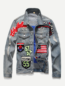 Men Patched & Ripped Detail Denim Jacket