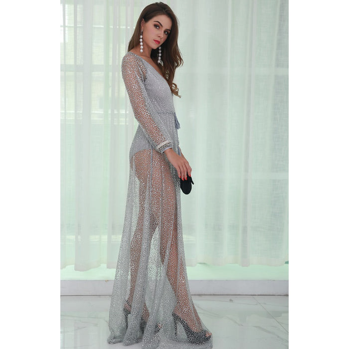 Silver Glitter Backless Dress - Alluforu