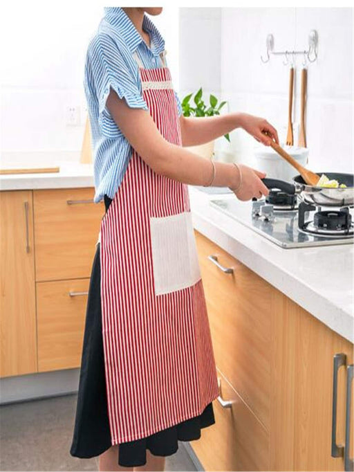 Pocket Front Contrast Lace Striped Apron