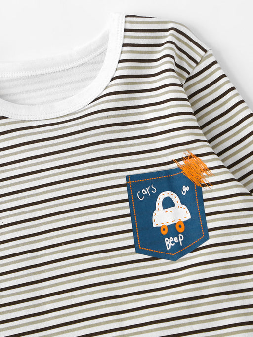 Boys Car Print Striped Pajama Set - Alluforu