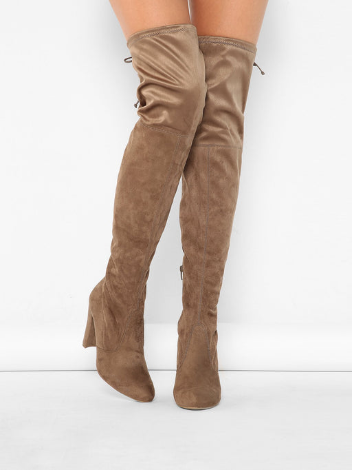 Almond Toe High Heel Thigh High Boots - Alluforu