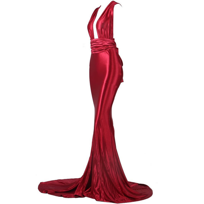 Red Evening Gown - Alluforu