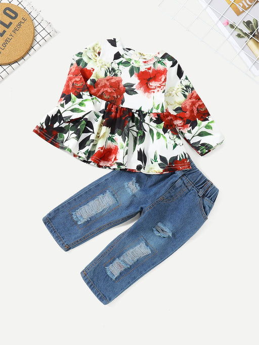 Toddler Girls Floral Print Top With Ripped Jeans